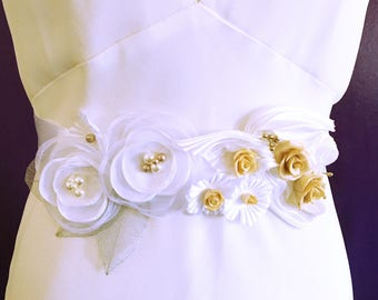 Nasturtium wedding belt / sash white Wedding