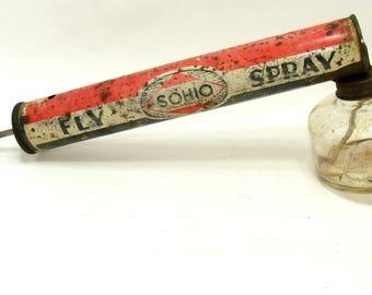 Vintage bug sprayer-Sohio fly spray- sohio fly sprayer-old sohio gas-vintage sohio oil-insect sprayer-service station-old gas station ohio