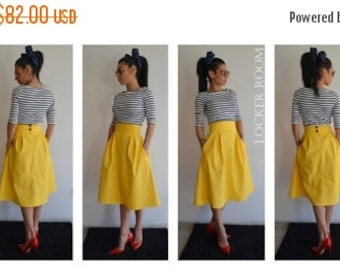 ON SALE A-Line Spring Maxi Skirt /Yellow maxi skirt /High waist skirt /Over size woman skirt /Yellow Woman skirt