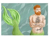Tattooed Bearded Merman Print