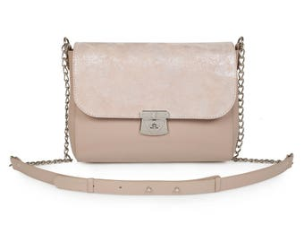 Leather Cross body Bag, Grey Beige Leather Shoulder Bag, Women's Leather Crossbody Bag, Leather bag KF-1165