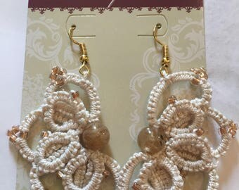 Tatted lace earrings with beads