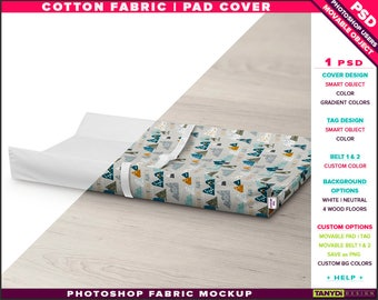 Pad Cover Cotton Fabric | Photoshop Fabric Mockup PC-M4 | Tag Belts | Pad on wood floor | Smart Object Custom colors