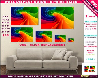 Wall Display Guide | 6 Print Sizes Photoshop Mockup | 24x36 20x30 16x24 12x18 8x12 4x6 | Movable Landscape Unframed Print | Sofa interior