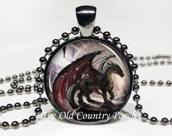 Mystic Dragon Glass Pendant Necklace with Chain