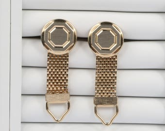 """1960's-70's Round and Octagonal Brushed and Incised Design Mesh Wrap Toggle Cufflinks, Excellent VTG Cond., 13/16"""" Diameter."""