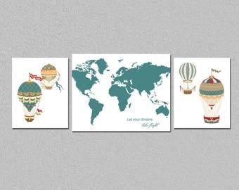 Hot air balloons nursery printable art set, world map art set, kids room let your dreams take flight decor, custom colors , download
