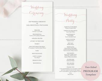 Printable Blush Pink Tall Program Template - Wedding Program Download - Editable PDF - Wedding timeline - Ceremony -4x9 inches - #GD1602