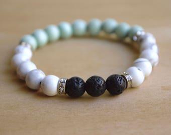 Howlite Bracelet / Essential Oil Diffuser Bracelet / Yoga Bracelet / Meditation Bracelet / Genuine Gemstone Bracelet / Gift Idea
