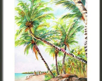 ORIGINAL Watercolor, Tropical Painting, 11x14, Beach decor, Bavaro Beach, Punta Cana, Dominican Republic,Palm Trees, Beachy Hand Painted