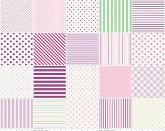 1 Yard Little Dolly by Elea Lutz for Penny Rose Fabrics 6361 Lilac Blocks