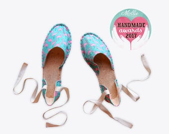 New! Flamingo Strappy Espadrilles in Turquoise