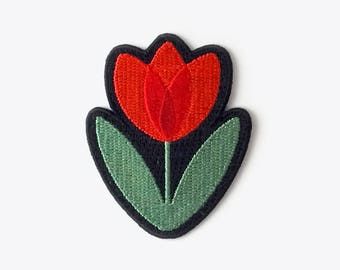 NEW! Tulip Embroidered Iron-On Patch