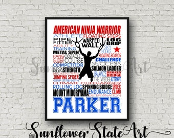 Personalized American Ninja Warrior Poster, Typography, American Ninja Warrior Gift, American Ninja Warrior Birthday, Obstacle Course Art