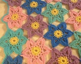 Crochet afghan, crocheted blanket, crochet flowers, crochet throw
