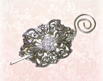 Silver Shawl Pin Brooch Victorian Vintage Style Scarf Pin Hair Slide Edwardian Filigree Antique Inspired Stick Pin
