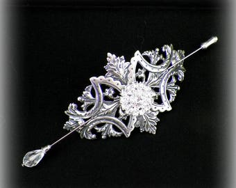 Victorian Shawl Pin Silver Brooch Vintage Style Scarf Pin Hair Slide Edwardian Filigree Outlander Antique Inspired Stick Outlander