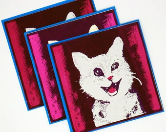 Set of 3 Smiling Cat Greeting Card - Screenprinted Original