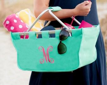 Monogrammed Basket, Monogrammed Market Bag, Monogram Market Bag, Personalized Market Tote, Monogram Market Basket, Picnic Basket, basket