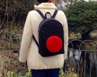 Red Dot Backpack, Waterproof Cotton Canvas Rucksack, Handmade, Screen Print, Black and red
