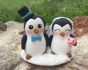 Penguins pingüinos cake topper wedding