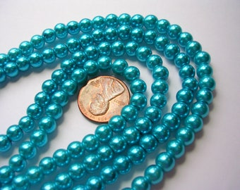 Turquoise Blue Pearls 6mm Glass Pearls Blue Round Celestial Glass Pearls Shimmery Pearl Rounds Turquoise 6mm Pearl Rounds 70 Pearl Rounds