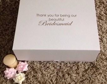 Bridesmaid/Maid of honour thank you gift box, bridesmaid keepsake box for bridal party