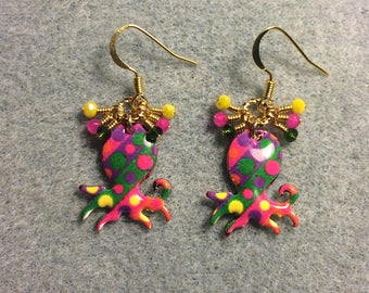 Pink, yellow, and green enamel octopus charm earrings adorned with tiny dangling pink, yellow, and green Chinese crystal beads.