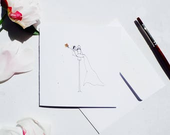 Handmade Illustrated personalised Wedding card | Bride and Groom card | over the threshold card| happy girl card
