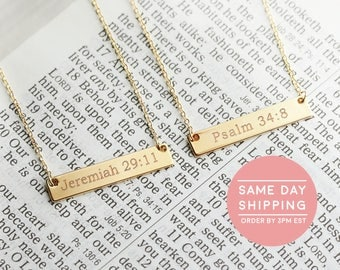 Christian Necklace Christian Jewelry Faith Necklace Religious Jewelry Bible Verse Necklace Baptism Gift Pendants - 4N