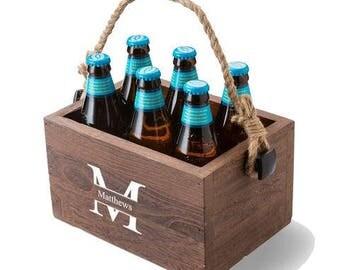 Personalized Beer Caddy with Rope Handle-Custom Beer Caddy-Monogram Beer Caddy