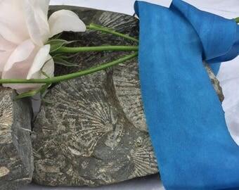 ELECTRIC BLUE hand dyed silk habotai ribbon / plant dyed / eco dyed / wedding ribbon / styling ribbon / photo prop / pure silk ribbon