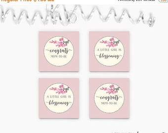 Cherry Blossom Cupcake Toppers , Cherry Blossom Baby Shower Cupcake Tags , Floral Party Circles , Printable , Instant Download