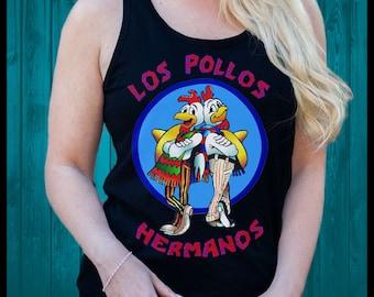 Los Pollos Hermanos Breaking Bad Heisenberg pinkman T Shirt SINGLET womens MENS