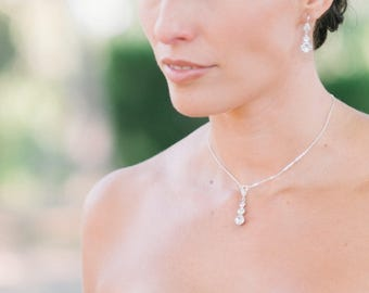 Silver necklace with crystals pendant