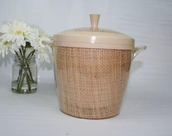 Vintage Raffia Ware Ice Bucket, Tan,  Thermo Serv