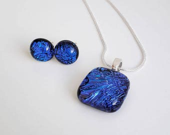 Blue jewellery set, pendant and earrings in cobalt blue dichroic glass with silver findings