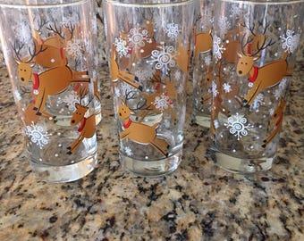 Reindeer drinking glass-Vintage