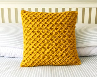 DIY Knitting Kit.  Knitted cushion pillow.  Knit accent sham. Sofa couch chair comforter case.  Euro sham. Learn to knit pattern kit