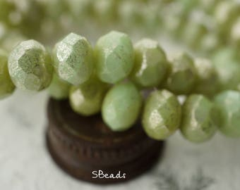 Cashmere Green, Rondelle Beads, Czech Beads, Beads, N2314