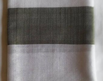 SUMMER BLOWOUT SALE...thru 07/15/17!...Women's 100% Handwoven Ethiopian Cotton Scarf with Olive Green/White Stripes and Decorative Design