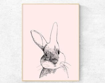 Rabbit illustration print - Digital Download