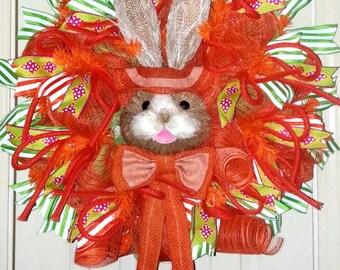Easter wreath for door, Easter door wreath, Easter Bunny wreath, Bunny door hanger, bunny wreath, Spring wreath, Spring door wreath, wreath