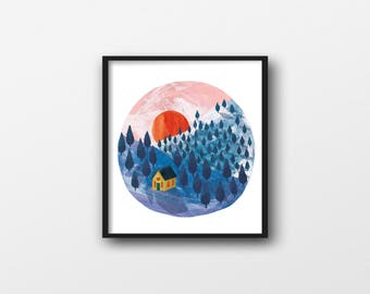 Morning, giclée square illustration print, 21 x 21cm
