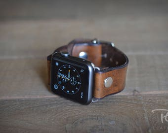 Handmade Brown Leather Apple Watch Band 42mm