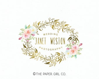 wedding logo design monogram logo watercolor flower logo gold foil logo premade logo design photography logo jewelry designer logo watermark