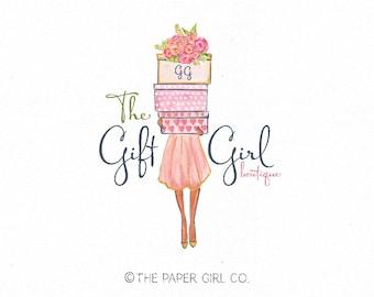 girl with gifts logo gift shop logo presents logo stationery shop logo gift wrapping logo premade logo bespoke gift logo event planner logo
