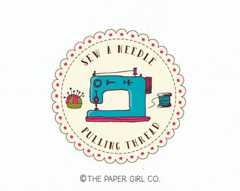 sewing machine logo sewing logo seamstress logo fabric shop logo pin cushion logo thread spool logo premade logo craft shop logo design