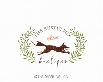 fox logo woodland logo design premade logo design photography logo baby shop logo children's boutique logo sewing shop logo rustic logo