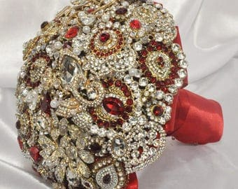 Red & Gold Brooch Bouquet